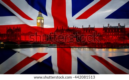 British union jack flag and Big Ben Clock Tower and Parliament house at city of westminster in the background - UK votes to leave the EU - stock photo