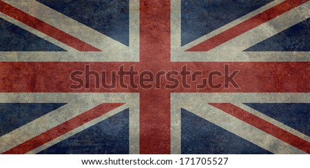 British Union Jack flag Vintage version, scale 1:2 - stock photo