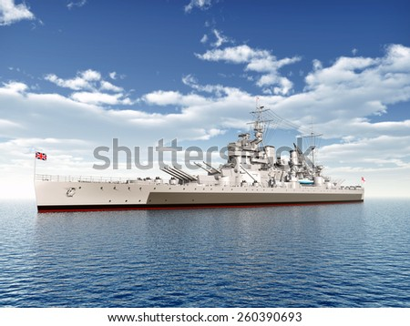 British warship of WW2 Computer generated 3D illustration - stock photo