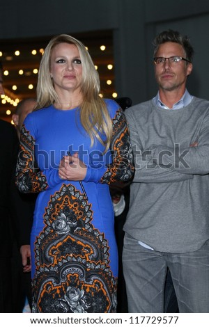 "Britney Spears and Jason Trawick at the ""The X Factor"" Season 2 Premiere and Handprint Ceremony, Chinese Theater, Hollywood, CA 09-11-12 - stock photo"