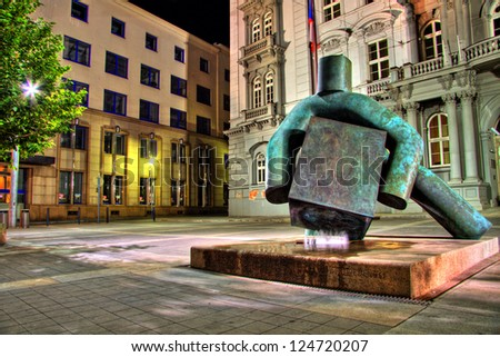 BRNO, CZECH REPUBLIC - AUGUST 19: Statue of justice on August 19, 2012 in Brno, Czech Republic. This statue dominates the Moravian Square after its reconstruction in 2011. - stock photo