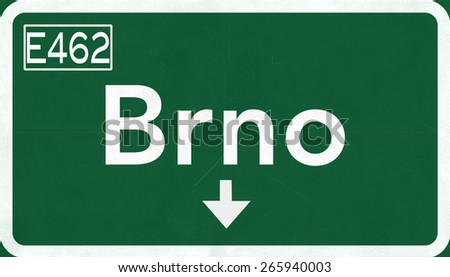 Brno Czech Republic Highway Road Sign - stock photo