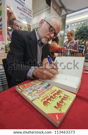 BRNO - SEPTEMBER 14: C.D. Payne at a book signing of his book Invisible yours and Son of Youth in Revolt: Diaries of Scott Twisp 14th September 2012, Brno, Czech Republic. - stock photo