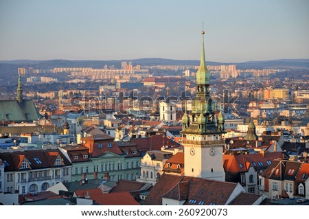 Brno skyline at dusk - stock photo