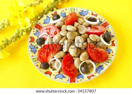 Broad bean salad - stock photo