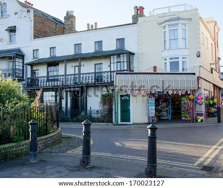 BROADSTAIRS, KENT, UK - DEC 29, 2013.  Once home to the inspiration for Betsey Trotwood,, the building has now been adapted as a Dickens Museum. - stock photo