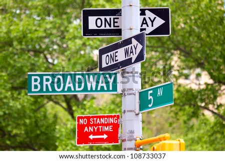 Broadway and 5th avenue Street Signs, Manhattan, New York City - stock photo