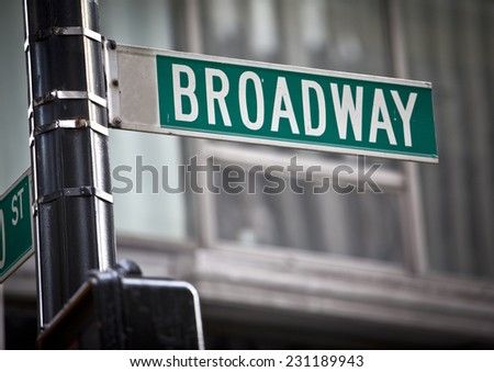 Broadway street sign in New York City - stock photo