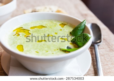 Broccoli and cheddar cheese cream soup - stock photo