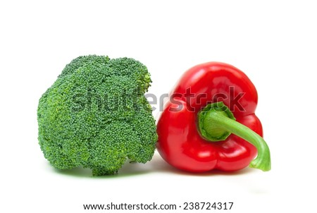 broccoli and red pepper isolated on white background close-up. horizontal photo. - stock photo