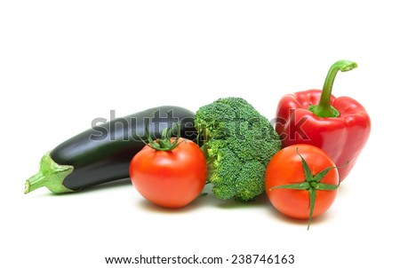 broccoli, eggplant, cherry tomatoes and red pepper isolated on white background close-up. horizontal photo. - stock photo