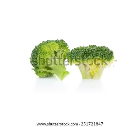 Broccoli isolated on white background - stock photo
