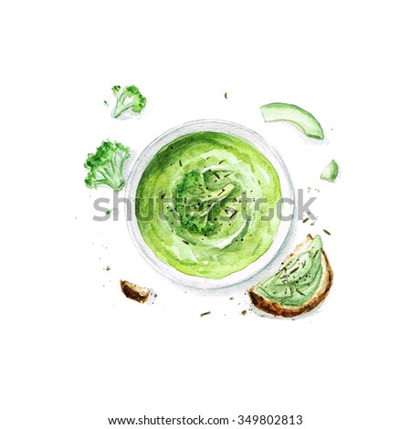 Broccoli Soup - Watercolor Food Collection - stock photo