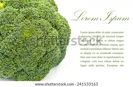 broccoli with copy space isolated on white - stock photo
