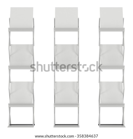 Brochure Display. Trade show booth stand for magazines white and blank. 3d render isolated on white background. High Resolution. Ad template for your design. - stock photo