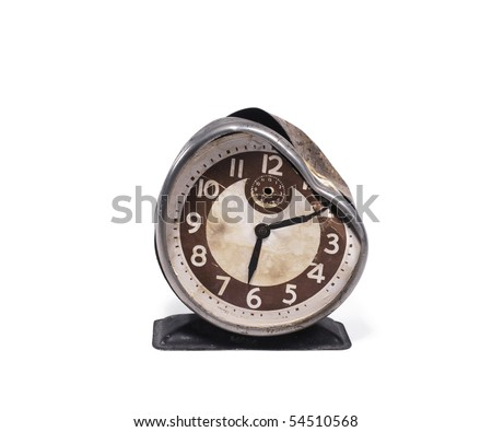 Broken alarm clock - stock photo