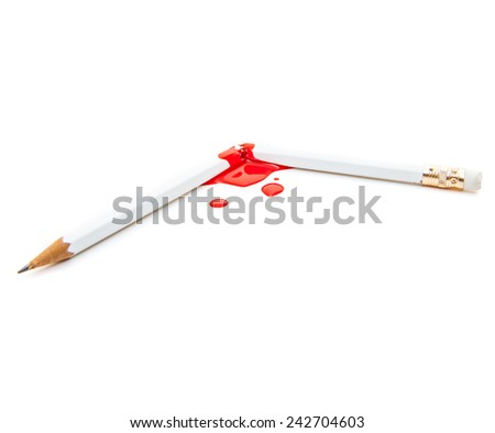 Broken and bloody pencil. All on white background. - stock photo