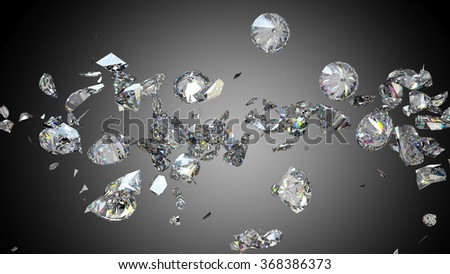 Broken and cracked diamonds or gemstones high resolution - stock photo