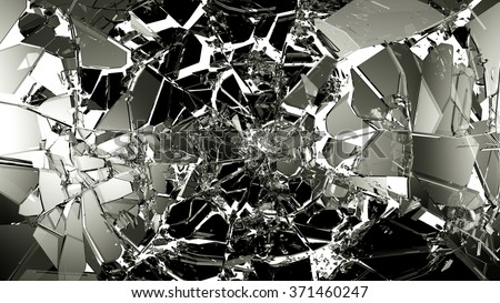 Broken and cracked glass isolated on white. high resolution - stock photo