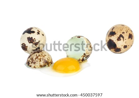 Broken and whole quail eggs isolated on white background - stock photo