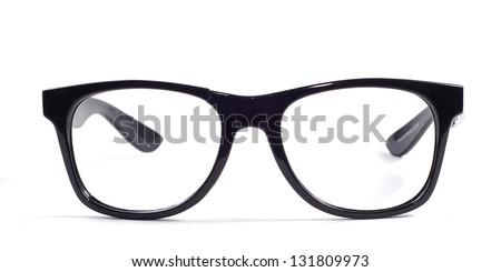 BROKEN black glasses on a white background - stock photo