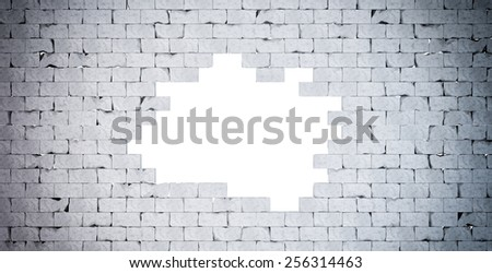 Broken Brick Wall. Isolated. Contains clipping path - stock photo