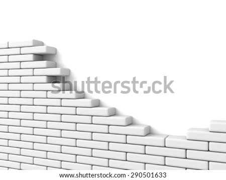 Broken Brick Wall On White Background. 3d Render Illustration - stock photo