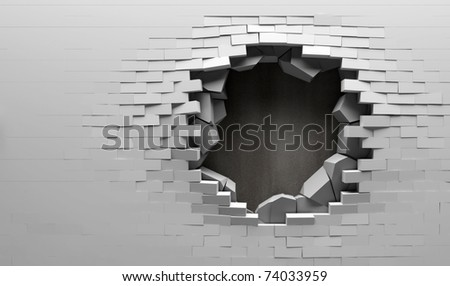 Broken Brick Wall with Metal Plate Behind - stock photo