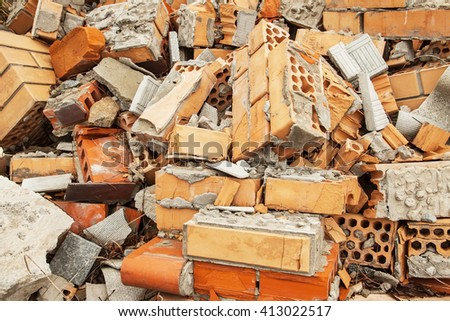 broken bricks. debris, construction garbage, rubbish dump.Close up. - stock photo