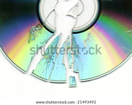 broken CD / DVD - stock photo