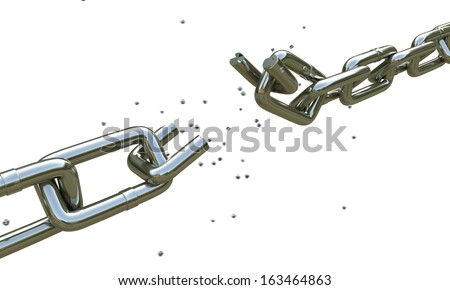 broken chain isolated on white background - stock photo