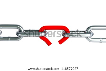Broken chain link chain on a white background - stock photo