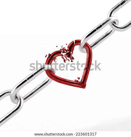 broken chain with red heart element - stock photo