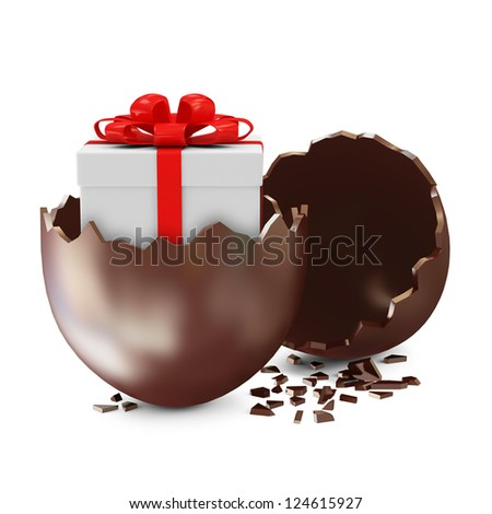 Broken Chocolate Easter Egg with Gift Box Inside over white background - stock photo