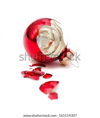 Broken Christmas ball isolated on white  - stock photo