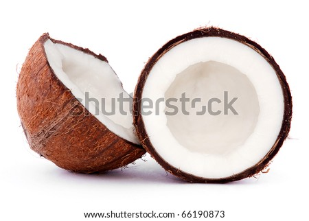 broken coconut isolated on a white background - stock photo