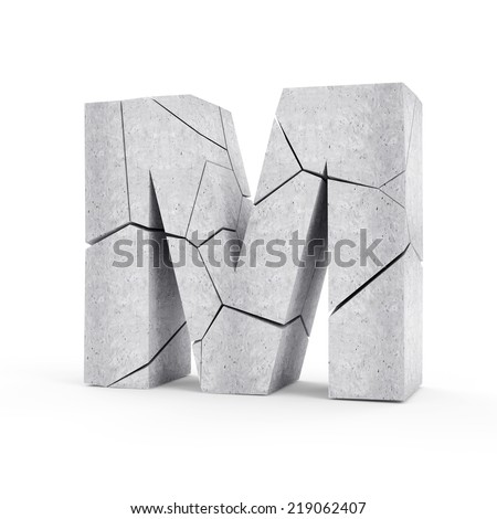 Broken Concrete Alphabet isolated on white background (Letter M) - stock photo