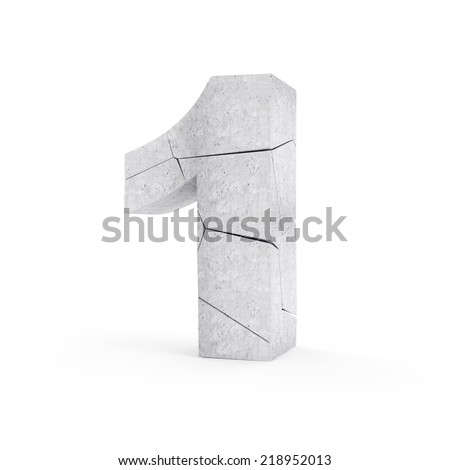 Broken Concrete Numbers isolated on white background (Number 1) - stock photo