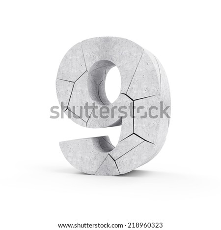 Broken Concrete Numbers isolated on white background (Number 9) - stock photo