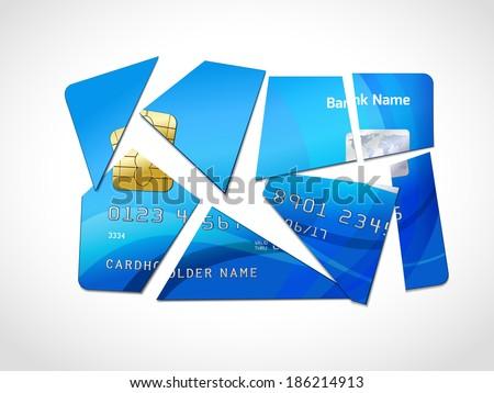 Broken credit card default debt bankruptcy symbol isolated  illustration - stock photo