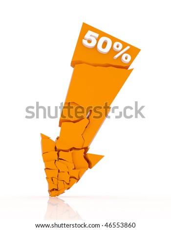 Broken discount arrow 50% off - stock photo