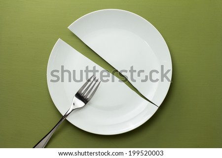 Broken Dish Setting - stock photo