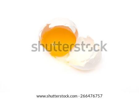 Broken egg isolated on the  white background - stock photo