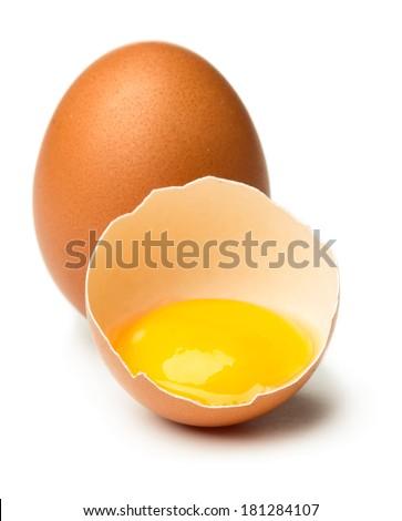 Broken egg isolated on white background - stock photo