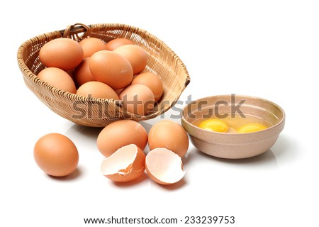 Broken egg isolated on white background  - stock photo