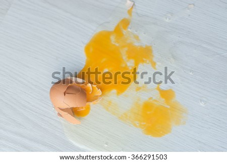 Broken egg on floor. - stock photo