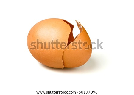 Broken egg with a opening crack in white background (with clipping path) - stock photo
