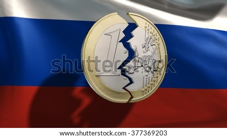 broken euro coin in front of Russia flag - stock photo