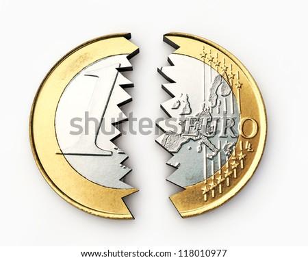 broken euro isolated on white background - stock photo