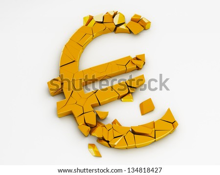 Broken Euro Sign With Clipping Path - stock photo